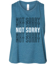 Load image into Gallery viewer, teal not sorry cropped tank top