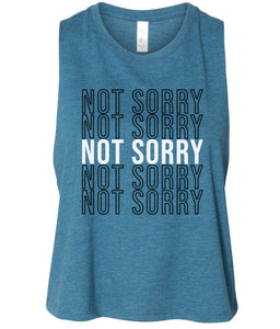 teal not sorry cropped tank top