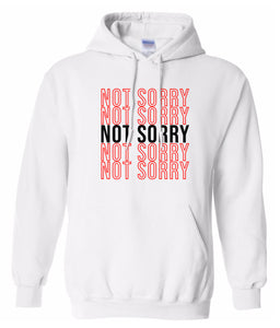 white not sorry hoodie