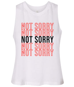 white not sorry cropped tank top