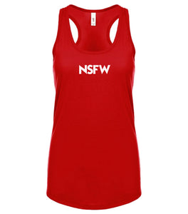 red NSFW racerback tank top for women