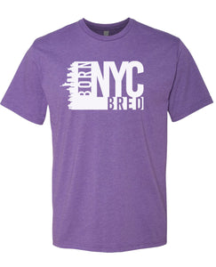 purple NYC born and bred t-shirt