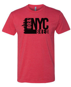 red NYC born and bred t-shirt