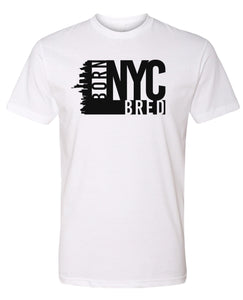 white NYC born and bred t-shirt