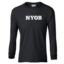 Load image into Gallery viewer, black NYOB youth long sleeve t shirt for boys