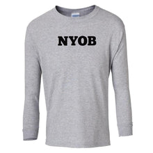 Load image into Gallery viewer, grey NYOB youth long sleeve t shirt for boys