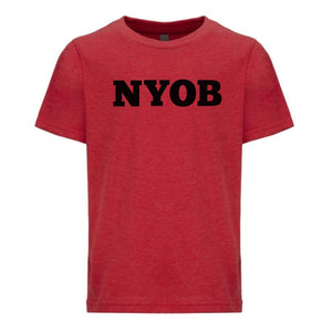 red NYOB youth crewneck t shirt for boys