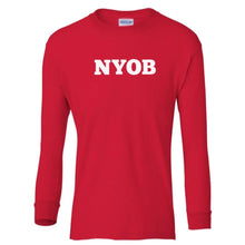 Load image into Gallery viewer, red NYOB youth long sleeve t shirt for boys
