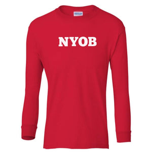 red NYOB youth long sleeve t shirt for boys