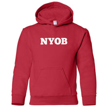 Load image into Gallery viewer, red NYOB youth hooded sweatshirt for boys