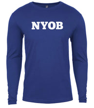 Load image into Gallery viewer, blue nyob mens long sleeve shirt