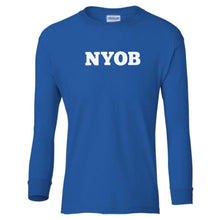 Load image into Gallery viewer, blue NYOB youth long sleeve t shirt for boys