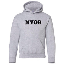Load image into Gallery viewer, grey NYOB youth hooded sweatshirt for boys