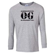 Load image into Gallery viewer, grey OG youth long sleeve t shirt for boys