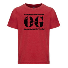 Load image into Gallery viewer, red OG youth crewneck t shirt for boys