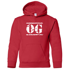 Load image into Gallery viewer, red OG youth hooded sweatshirt for boys