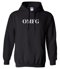 Load image into Gallery viewer, black OMFG hooded sweatshirt for women