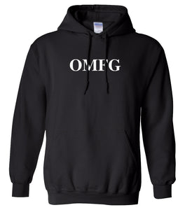black OMFG hooded sweatshirt for women