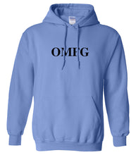 Load image into Gallery viewer, blue OMFG hooded sweatshirt for women