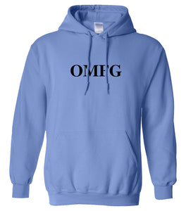blue OMFG hooded sweatshirt for women