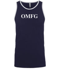 Load image into Gallery viewer, navy omfg mens tank top