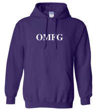 Load image into Gallery viewer, purple OMFG hooded sweatshirt for women