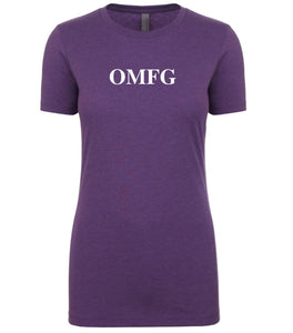 purple omfg womens crewneck t shirt