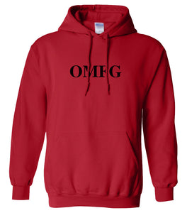 red OMFG hooded sweatshirt for women