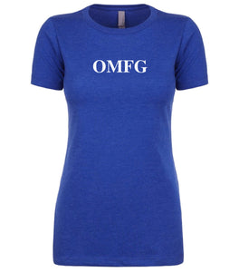 blue omfg womens crewneck t shirt