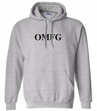 Load image into Gallery viewer, grey OMFG hooded sweatshirt for women