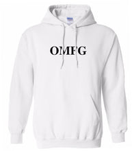 Load image into Gallery viewer, white OMFG hooded sweatshirt for women