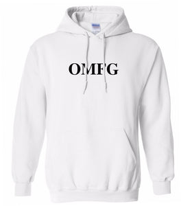 white OMFG hooded sweatshirt for women