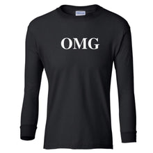 Load image into Gallery viewer, black OMG youth long sleeve t shirt for girls