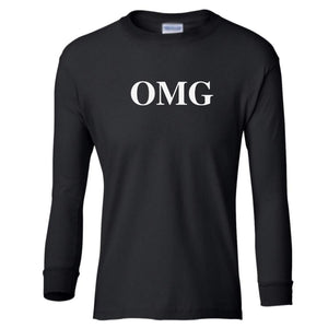 black OMG youth long sleeve t shirt for girls