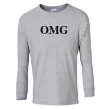 Load image into Gallery viewer, grey OMG youth long sleeve t shirt for girls