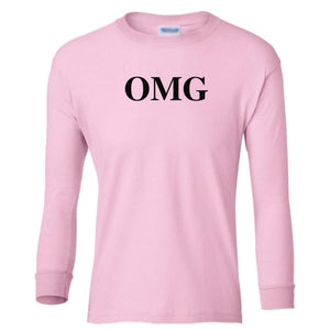 pink OMG youth long sleeve t shirt for girls