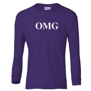 purple OMG youth long sleeve t shirt for girls