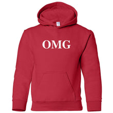 Load image into Gallery viewer, red OMG youth hooded sweatshirt for boys