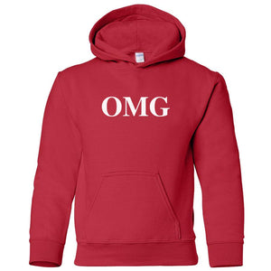 red OMG youth hooded sweatshirt for boys