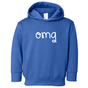 blue OMG hooded sweatshirt for toddlers