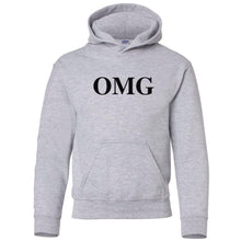 Load image into Gallery viewer, grey OMG youth hooded sweatshirt for boys