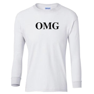 white OMG youth long sleeve t shirt for girls