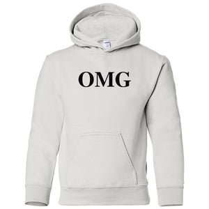 white OMG youth hooded sweatshirt for boys