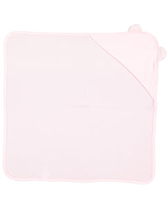 pink hooded baby towel with ears