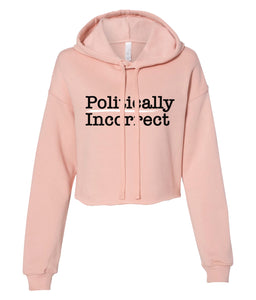 peach politically incorrect cropped hoodie