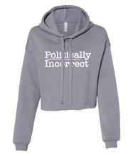 Load image into Gallery viewer, grey politically incorrect cropped hoodie