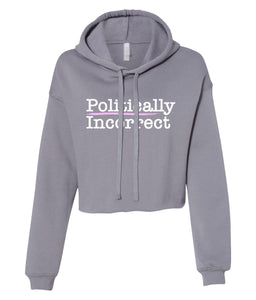 grey politically incorrect cropped hoodie