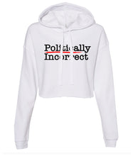 Load image into Gallery viewer, white politically incorrect cropped hoodie