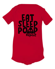 Load image into Gallery viewer, red eat sleep poop baby onesie