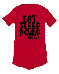red eat sleep poop baby onesie